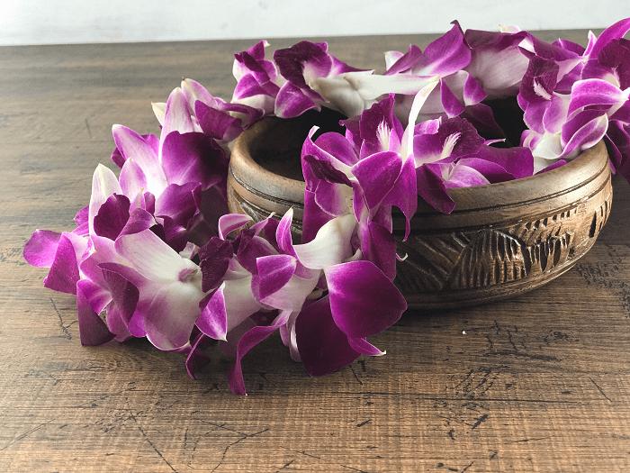 生花ハワイアンレイ 紫(スタンダード)